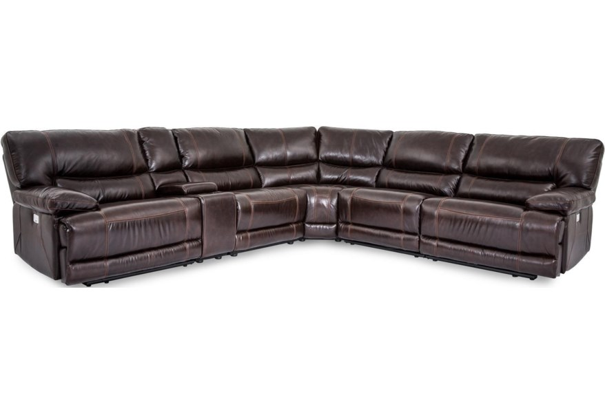 X9509M Collins Leather Power Reclining 6 Piece Sectional by Cheers Sofa at  Dunk & Bright Furniture