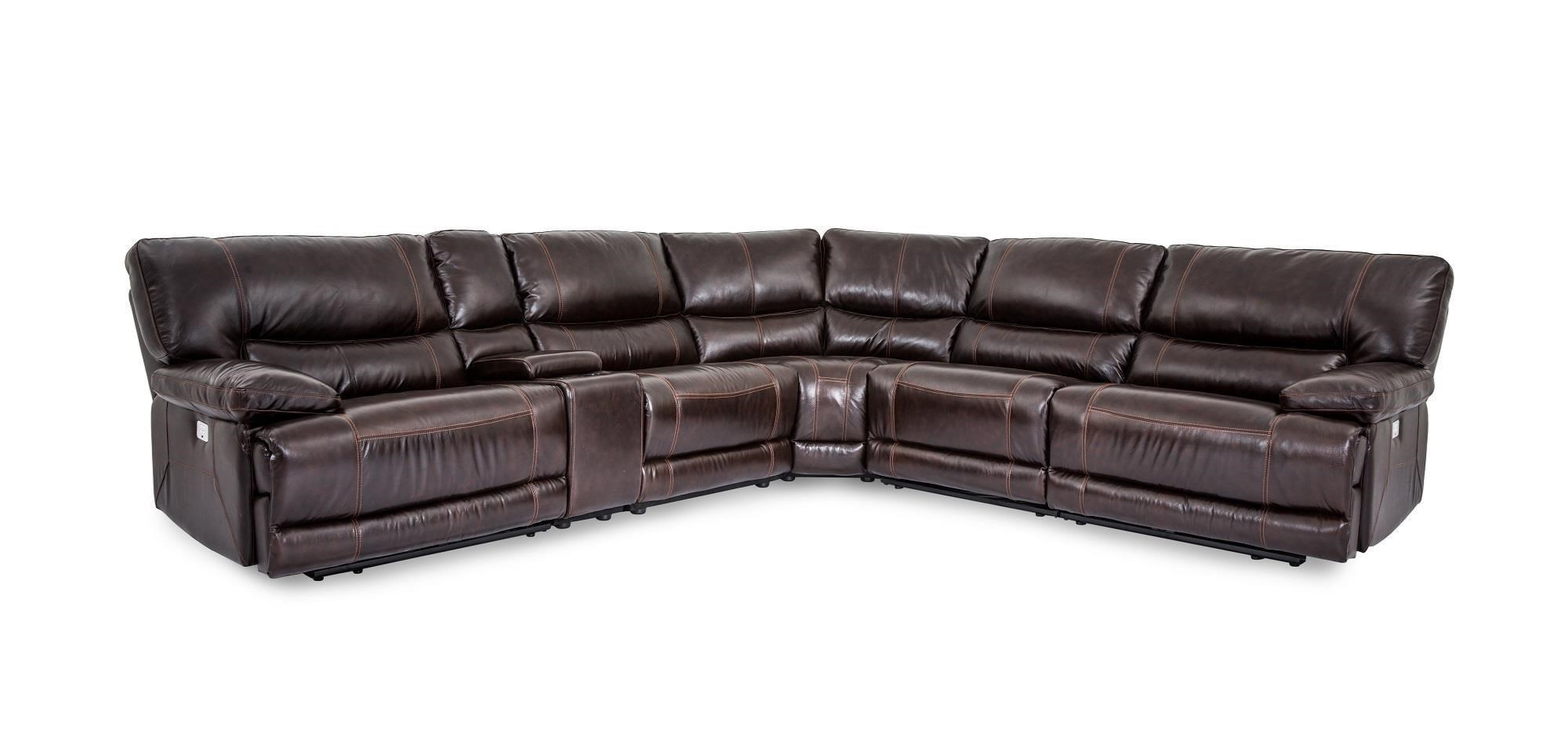 Bon Cheers Sofa X9509MCollins Leather Power Reclining 6 Piece Sect ...