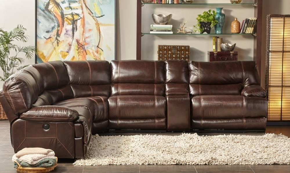 Cheers Sofa Collins Leather Reclining 6 Piece Sectional