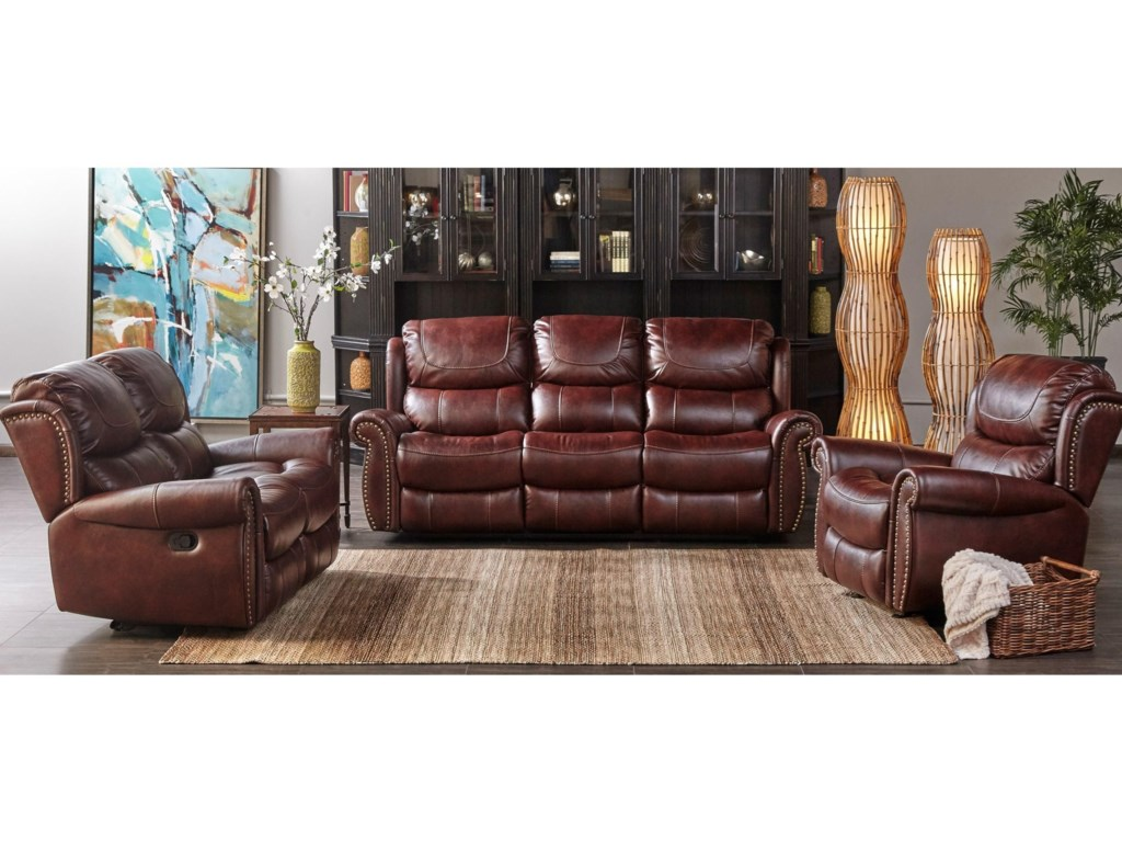 Cheers Sofa 1012Triple Play Sofa with Nailhead Trim