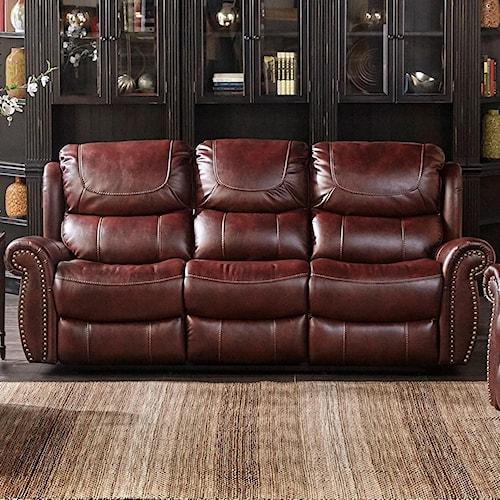 Dual Reclining Sofa With Nailhead Trim Xw1012m Qs By