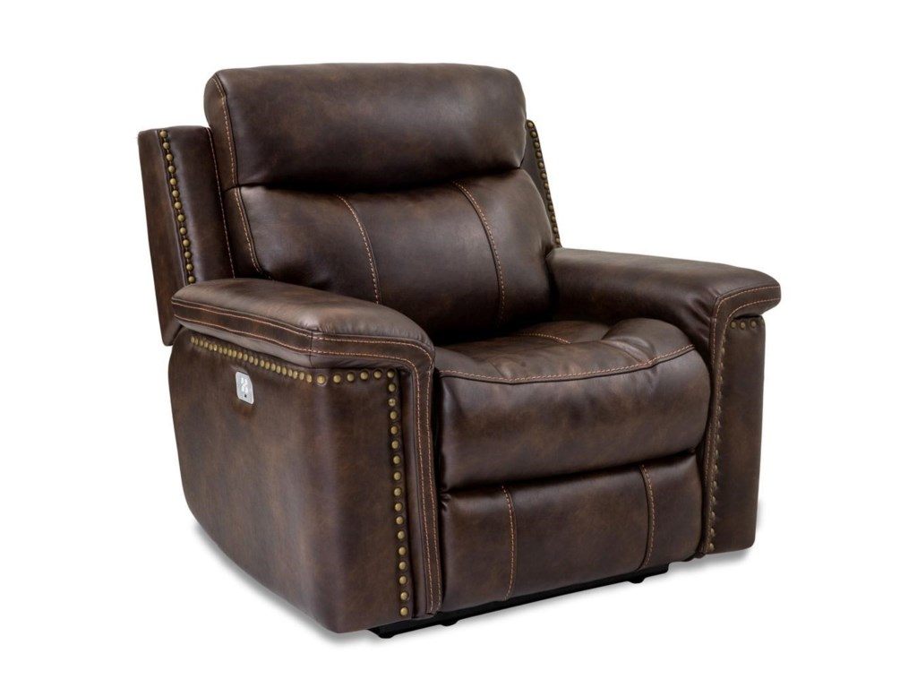 Cheers Sofa Phoenix Leather Recliner With Head Footrests
