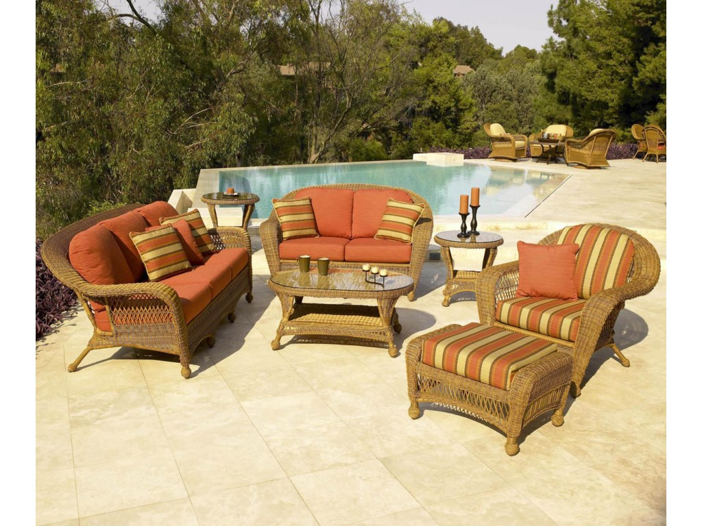 Shown in Outdoor Setting with Sofa, Loveseat, Chair, Cocktail Table and Ottoman