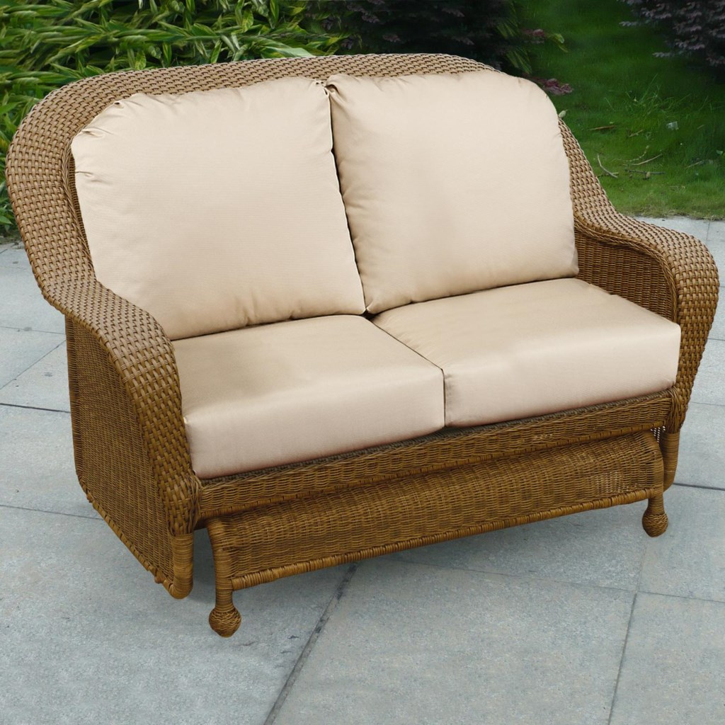 Winward cocoa woven deep seat upholstered outdoor double glider loveseat by chicago wicker