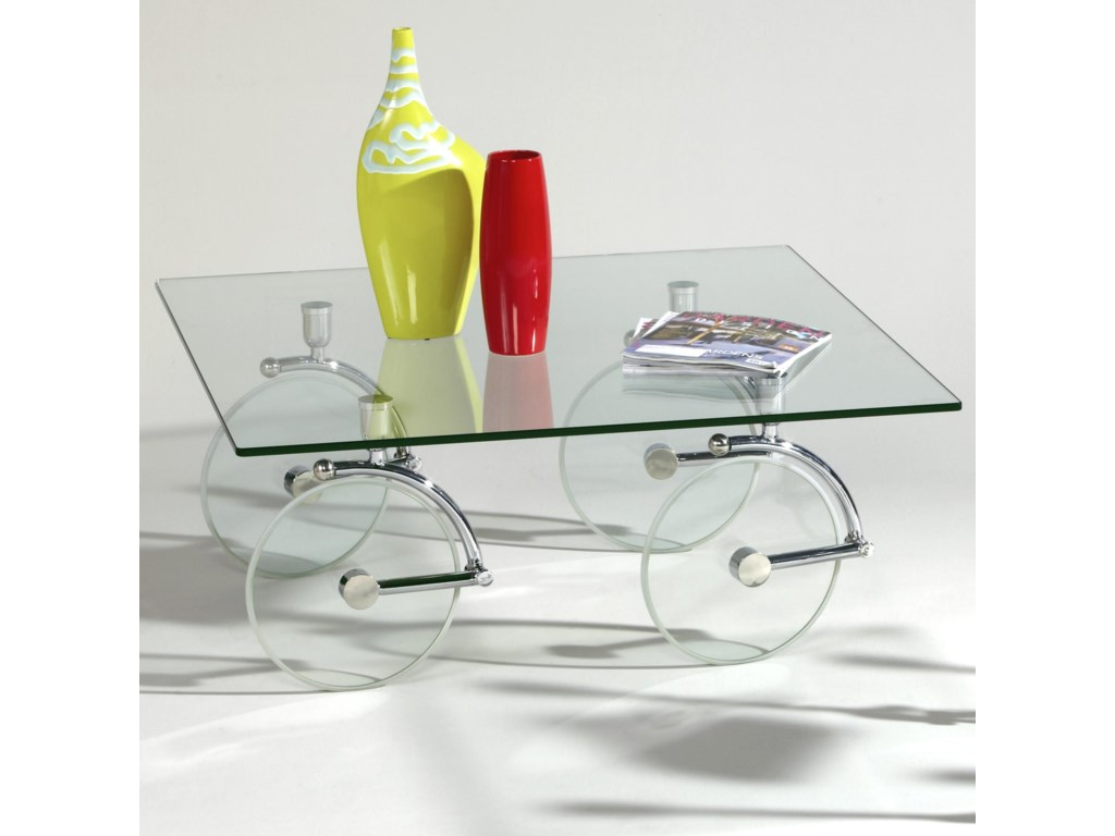 Chintaly Imports 1105Glass Caster Cocktail Table