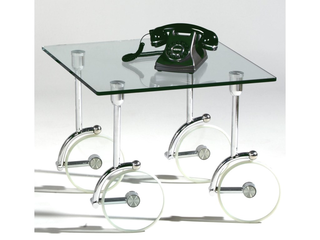 Chintaly Imports 1105Glass Caster Lamp Table