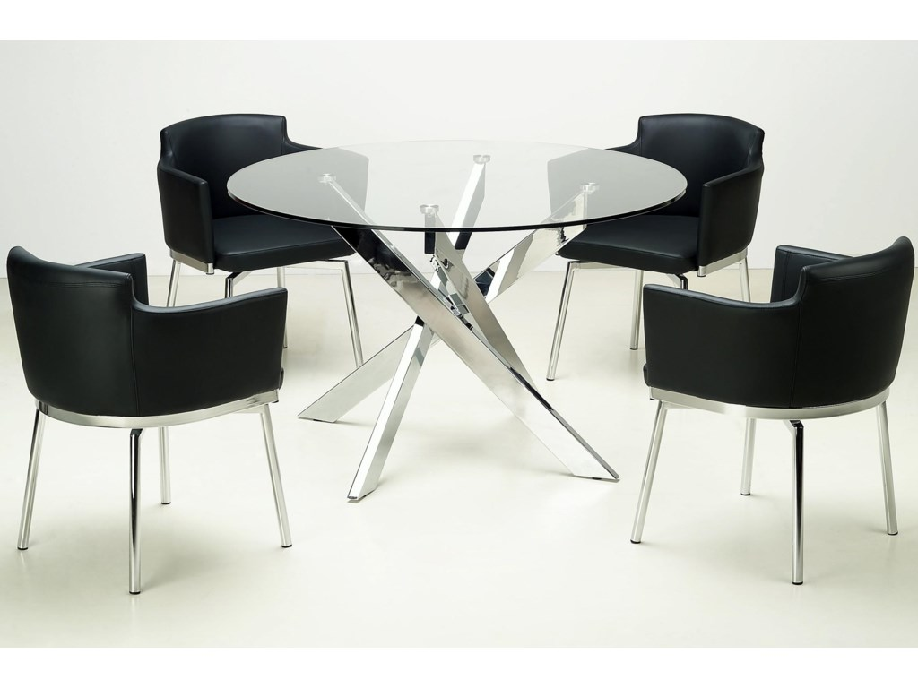 chintaly imports dusty chrome cross leg table with glass top  - shown with bucket side chairs