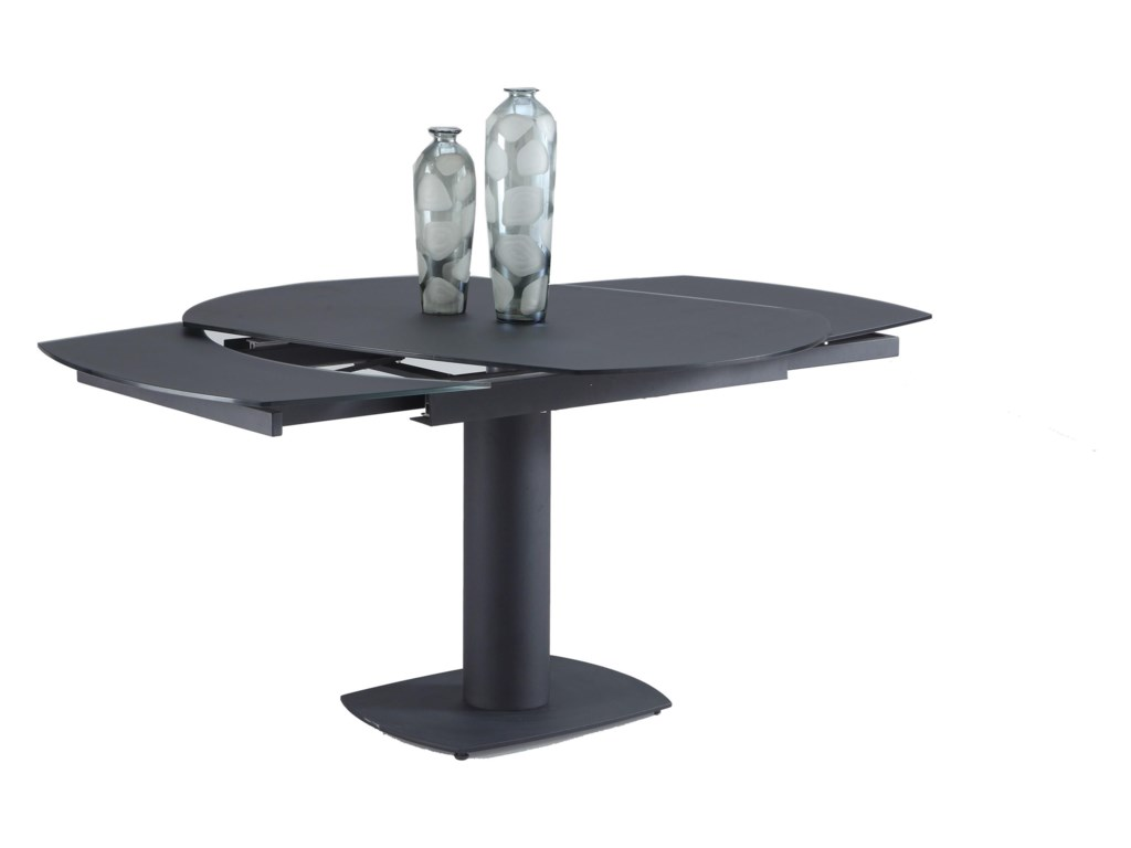 Chintaly Imports Grace Dining Table With Extension Glass Top