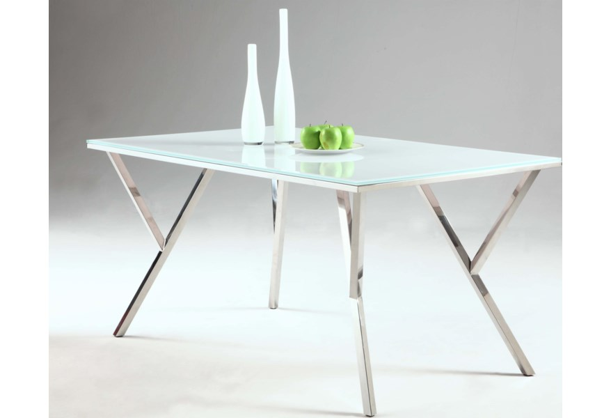 Chintaly Imports Jade Jade Dt Starphire Glass Top Dining Table