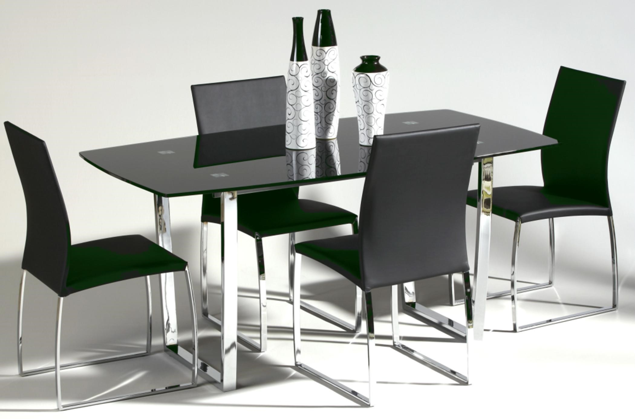 Chintaly Imports Marcy MARCY DT 5 PC BLK SET 5 Piece Glass Top Dining Set |  Hudsonu0027s Furniture | Dining 5 Piece Set
