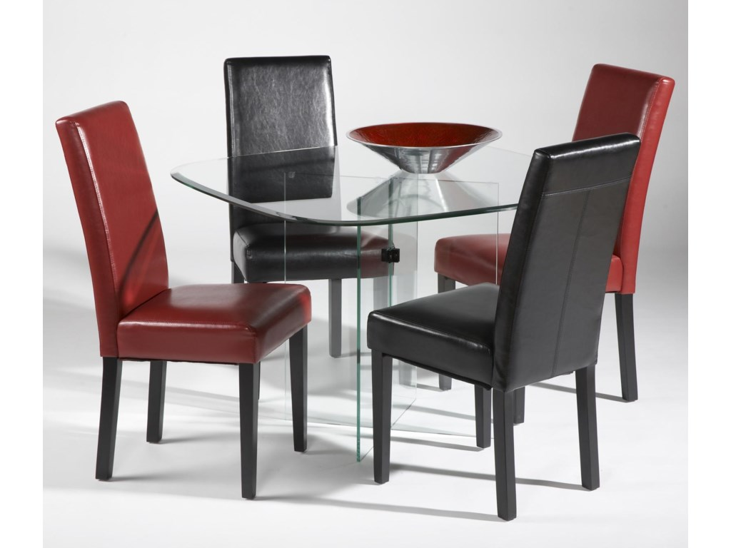 Chintaly Imports Parsons Five Piece X-Base Table and Parsons Chair ...