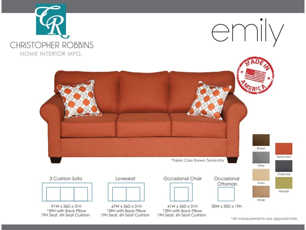 Christopher Robbins Emily3 Cushion Sofa