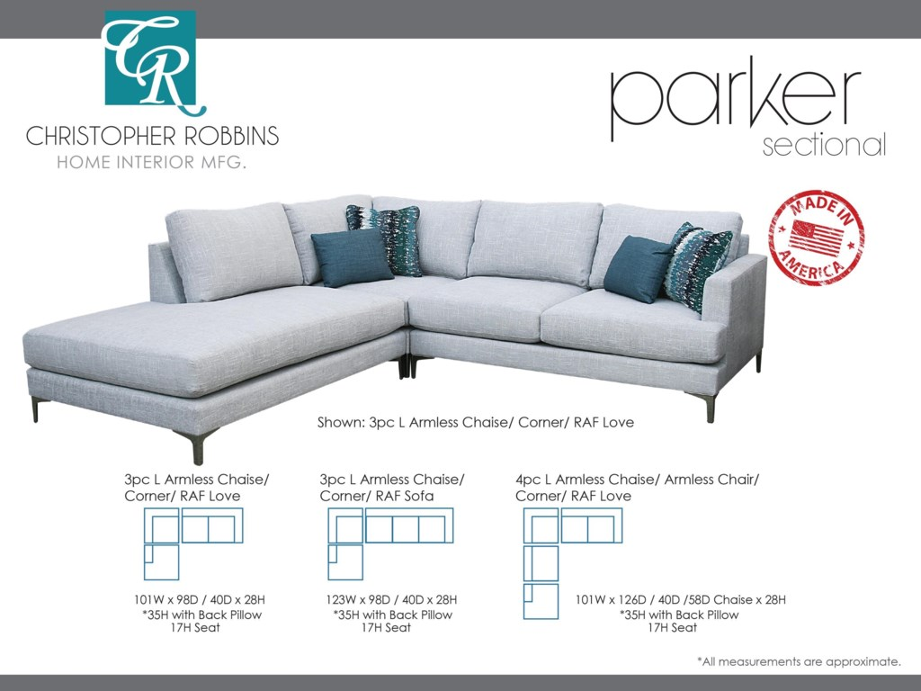 Christopher Robbins Parker3 PC Sectional L Armless Chaise + Corner + R