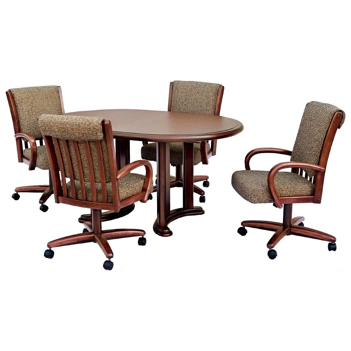 Chromcraft Custom Dining 5 Piece Dining Set With Chairs On Casters