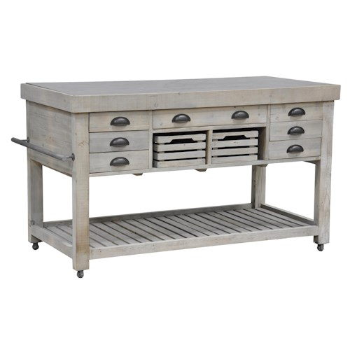 Classic Home Avery One of a Kind Natural Grey Kitchen Island