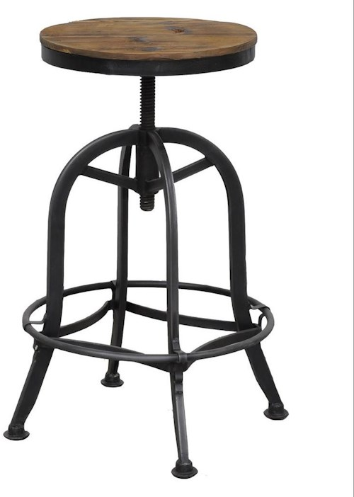 Classic Home Akron Industrial Styled Adjustable Bar Stool