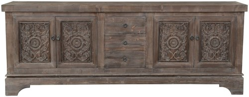 Classic Home Amita Antique Mocha Pine Wood Sideboard with Three Drawers, Four Doors, and Shelves