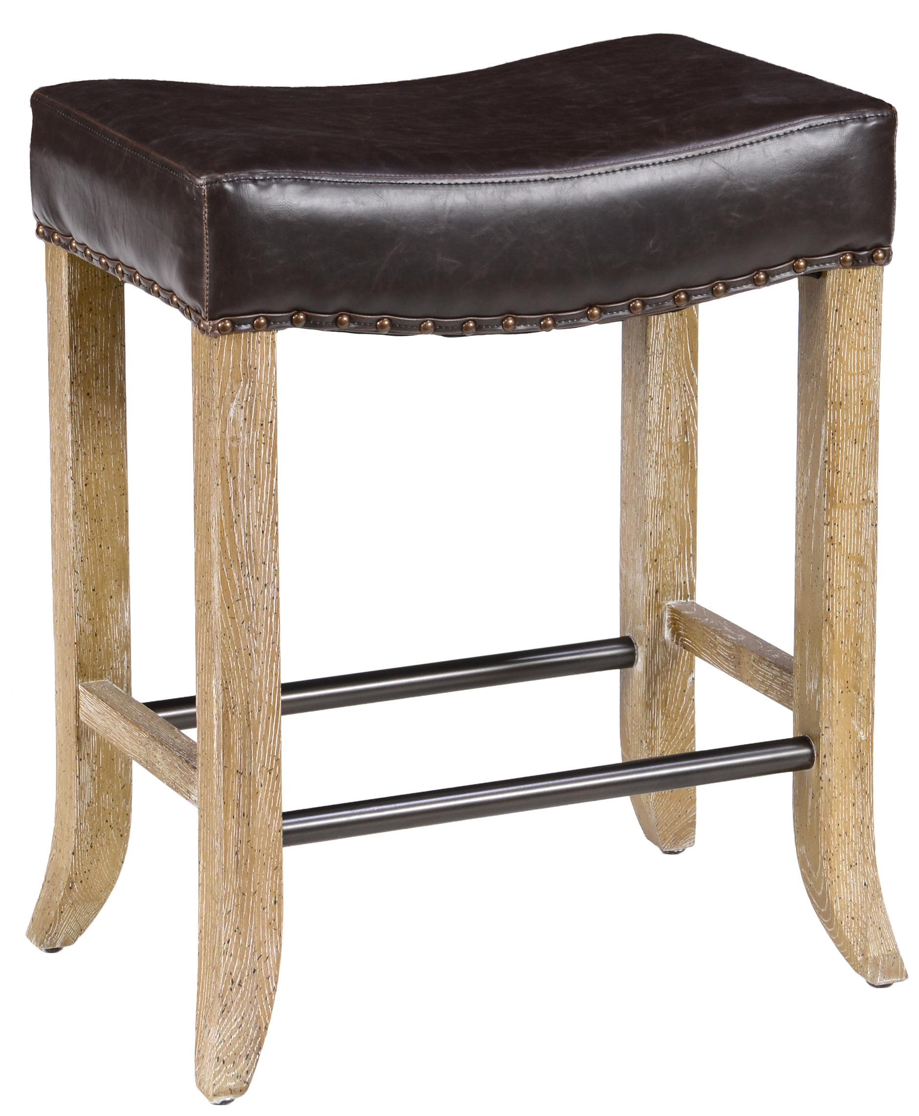 classic home camille backless counter stool with inspired leather seat and flared legs john v schultz furniture bar stool