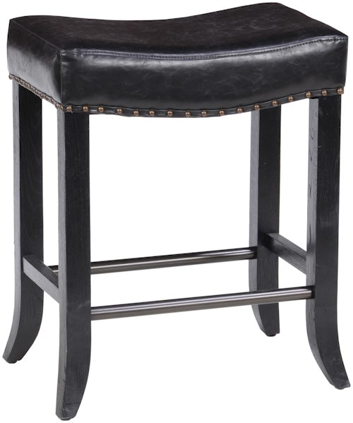 Classic Home Camille Backless Counter Stool with Inspired Leather Seat and Flared Legs