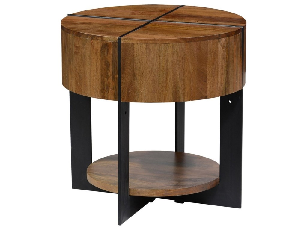 Clic Home Desmond 51010603 Round Mango Wood End Table With Iron Base John V Schultz Furniture Tables