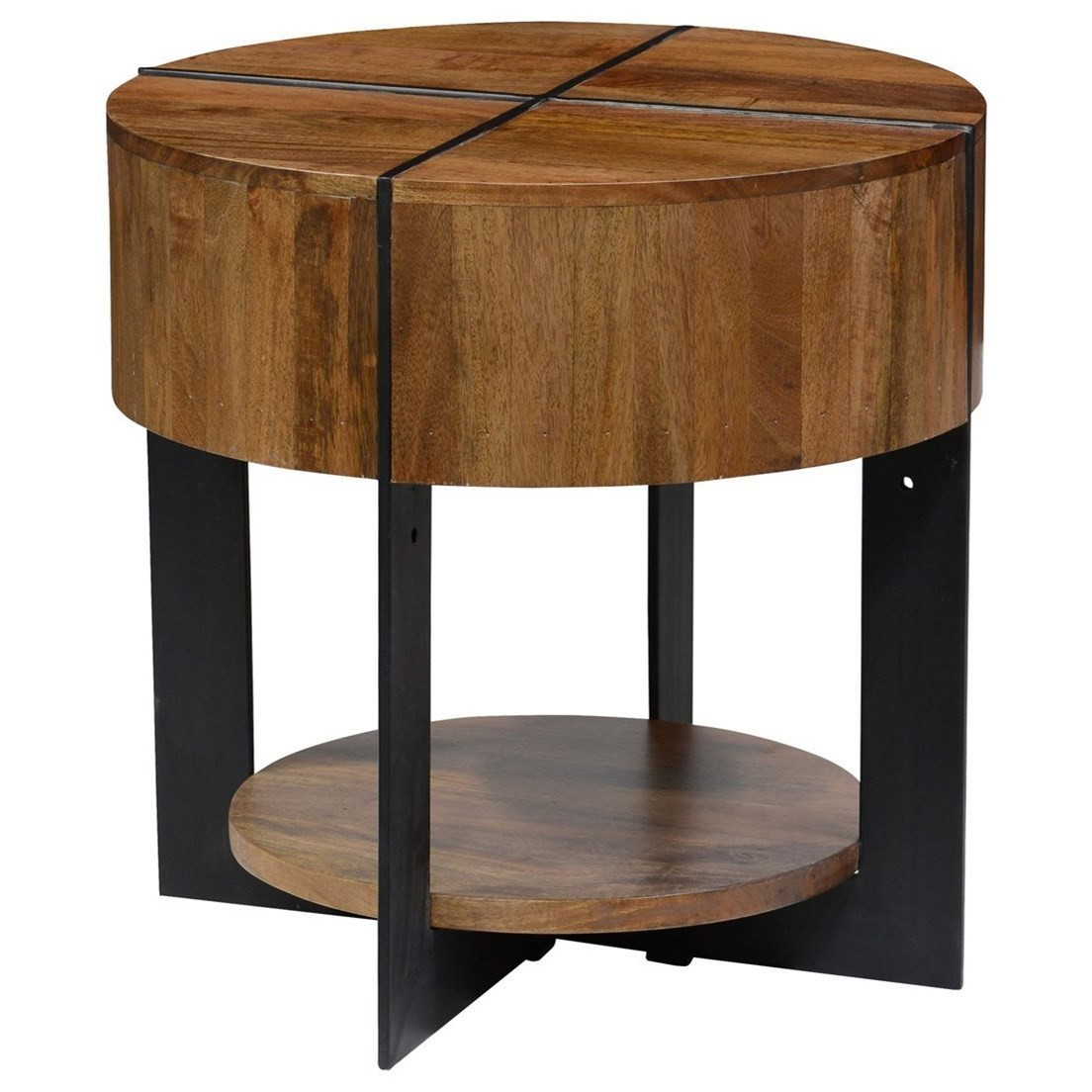 Classic Home Desmond Round Mango Wood End Table With Iron Base   John V  Schultz Furniture   End Tables