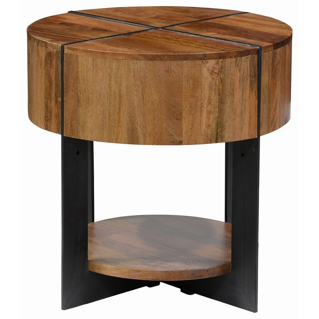 Desmond Round Mango Wood End Table With Iron Base By Classic Home
