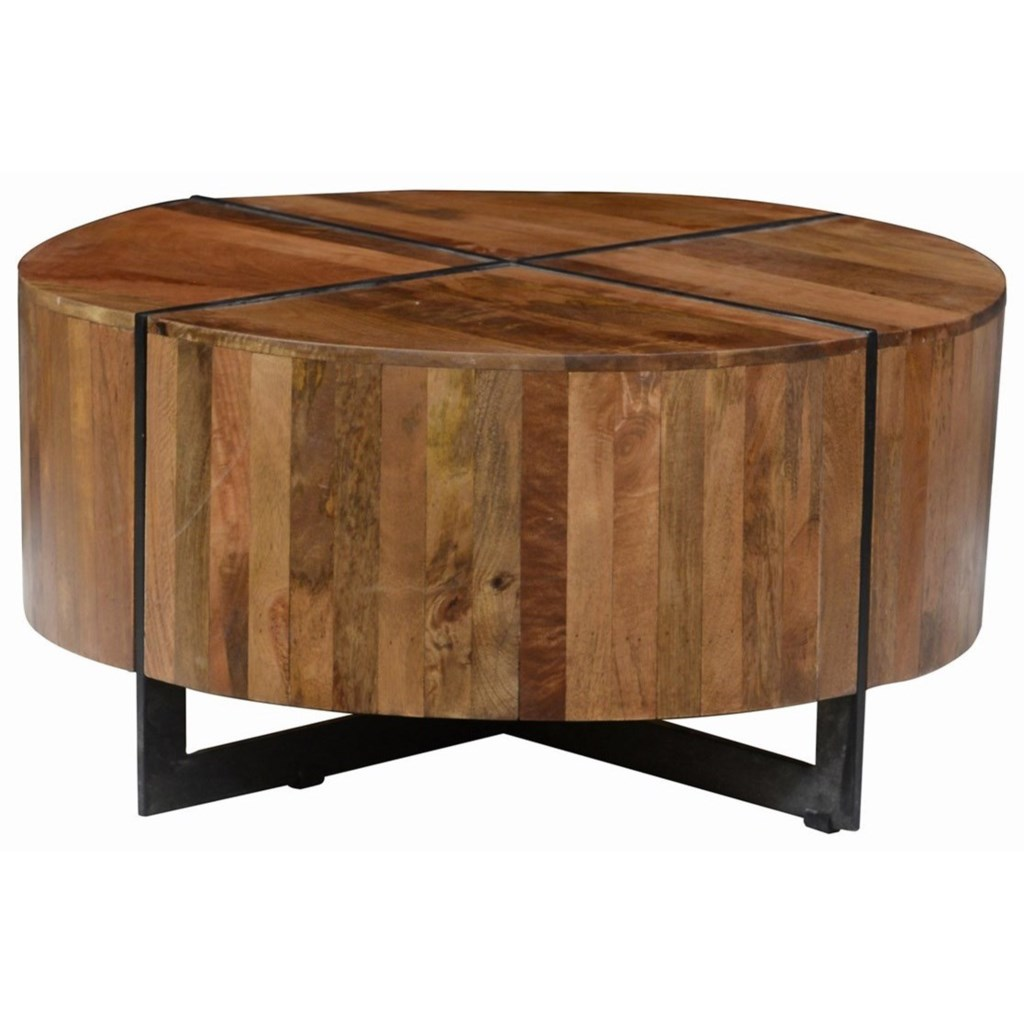 Classic Home Desmond Round Mango Wood Coffee Table With Iron Base