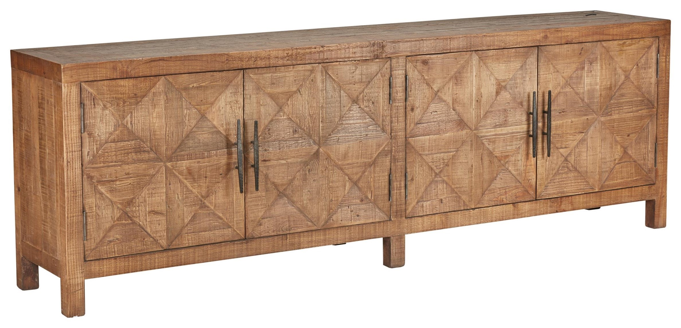 Classic Home Elani Checkerboard Solid Pine Four Door Sideboard With Iron  Hardware
