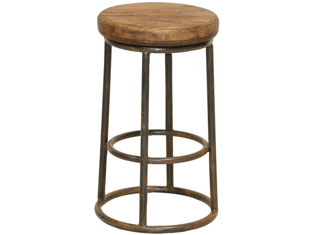 Clic Home Jaden Reclaimed Counter Stool With Iron Base