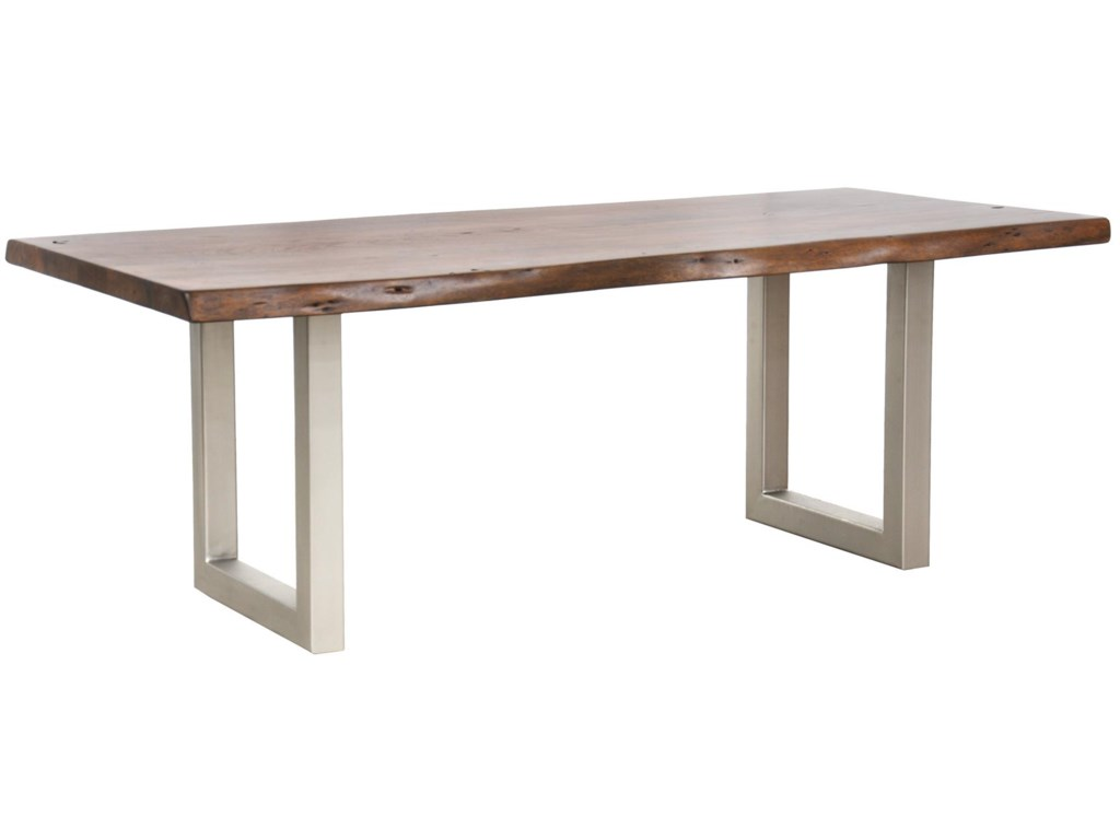 Kai 82 Solid Acacia Table With Iron Base By Clic Home