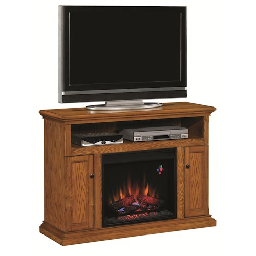 ClassicFlame Cannes Cannes Antique Oak Electric Media Cabinet Fireplace with Two Doors & One Open Component Compartment