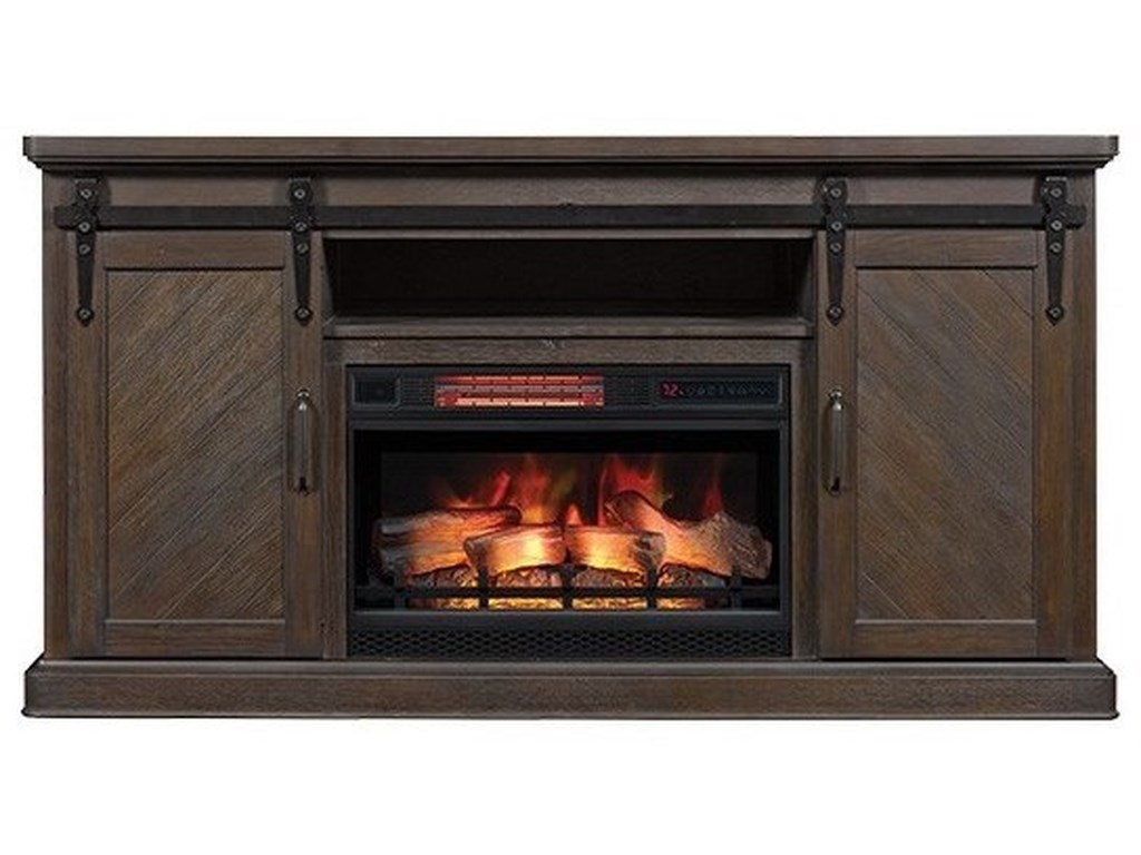 Morris Home SouthgateBarn Door Media Mantel Fireplace