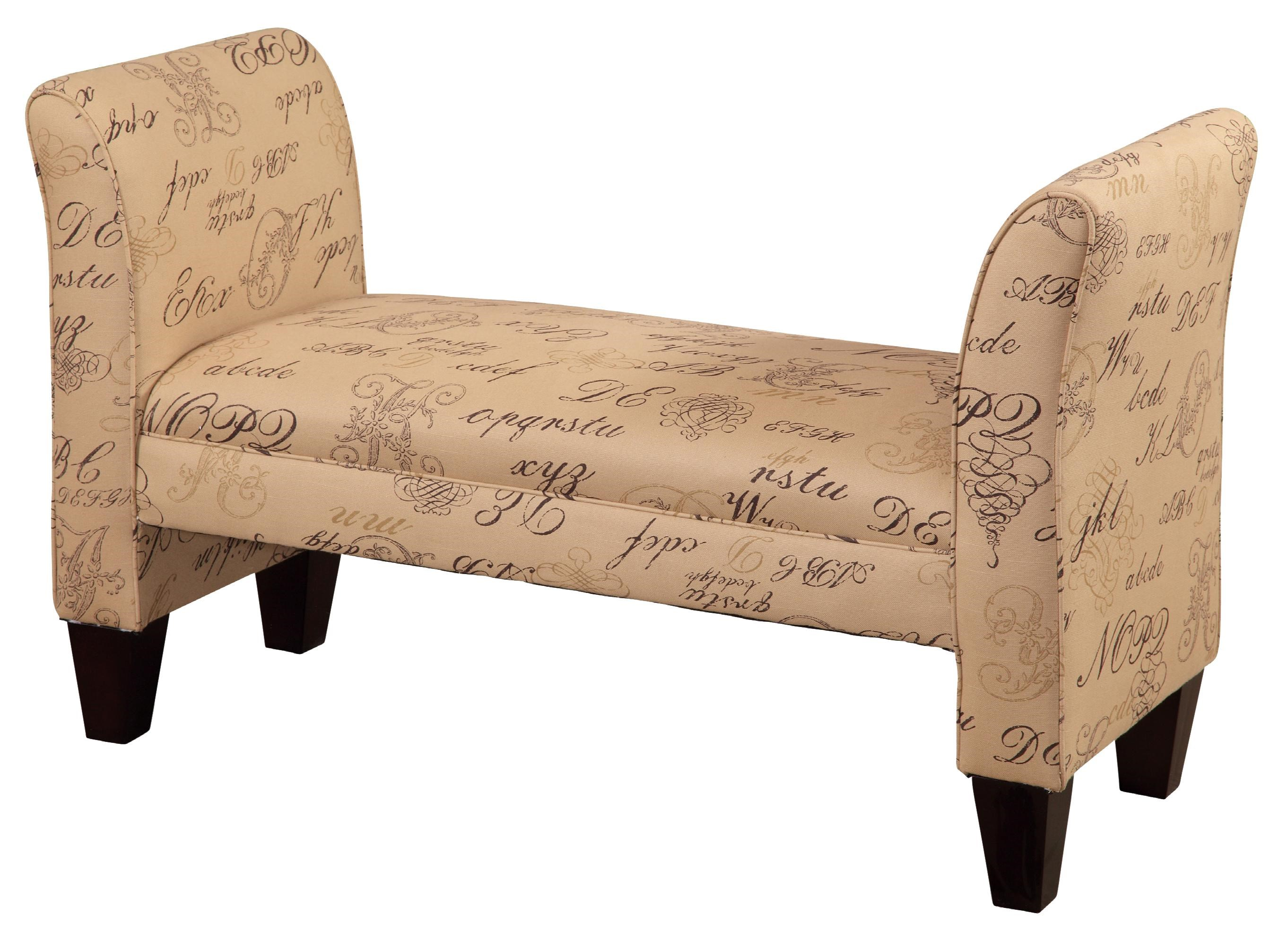 CMI Classic Chair Accents Traditional Styled Backless Bench With Arms    Hudsonu0027s Furniture   Upholstered Benches