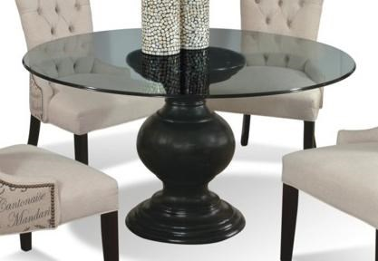 """cmi serena 60"""" round glass dining table with pedestal base"""