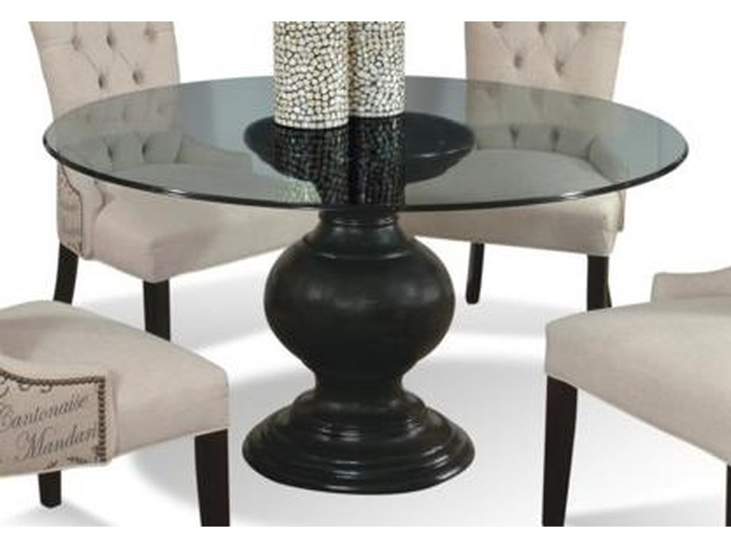 CMI Serena 60 Round Glass Dining Table With Pedestal Base