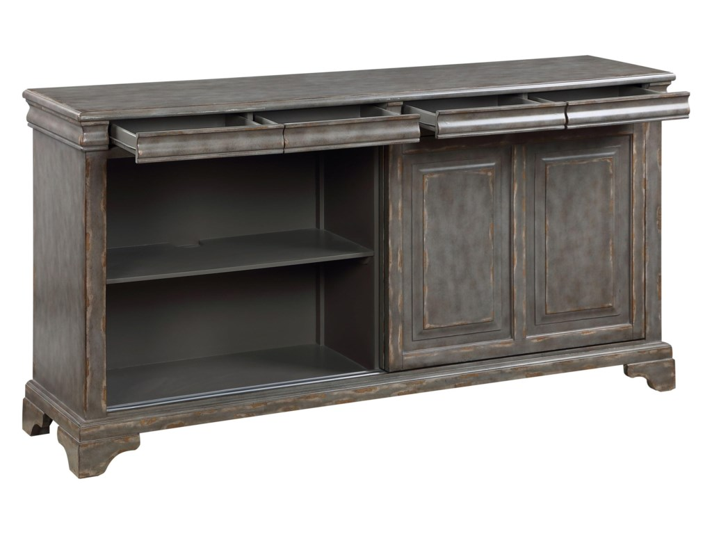 Coast to Coast Imports 402502-Sliding Door 4-Drawer Accent Cabinet