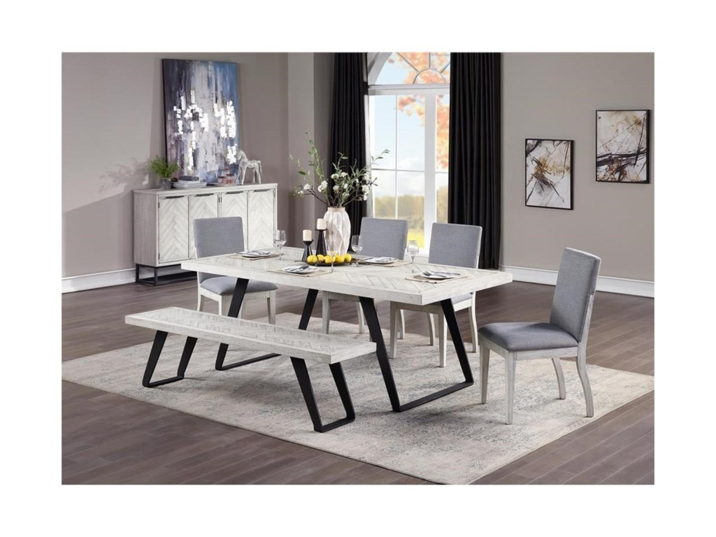 Coast to Coast Imports Aspen Court II6-Piece Table and Chair Set with Bench