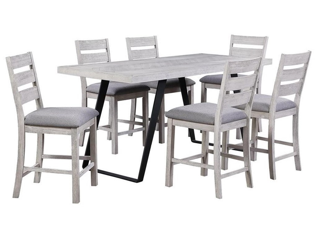 Coast to Coast Imports Aspen Court II7-Piece Counter Height Table and Chair Set