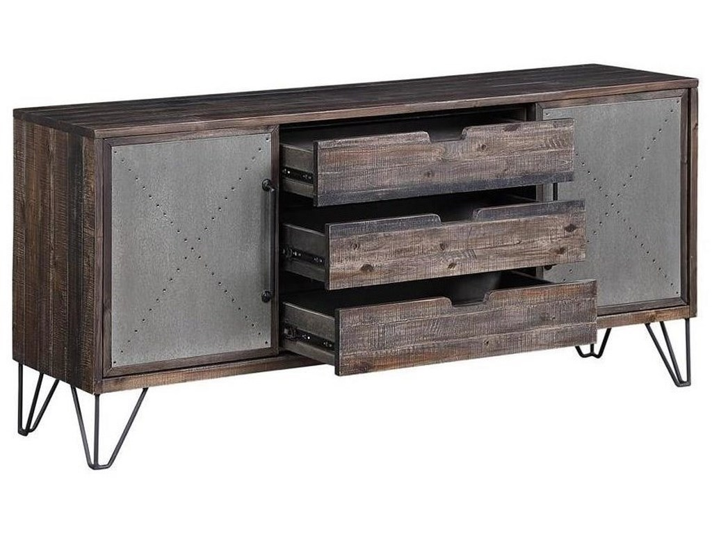 Coast to Coast Imports Aspen Court VintageTwo Sliding Door Three Drawer Media Console