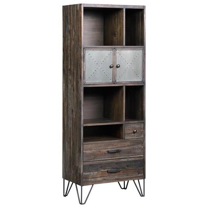 Industrial Two Door Three Drawer Bookcase/Pier