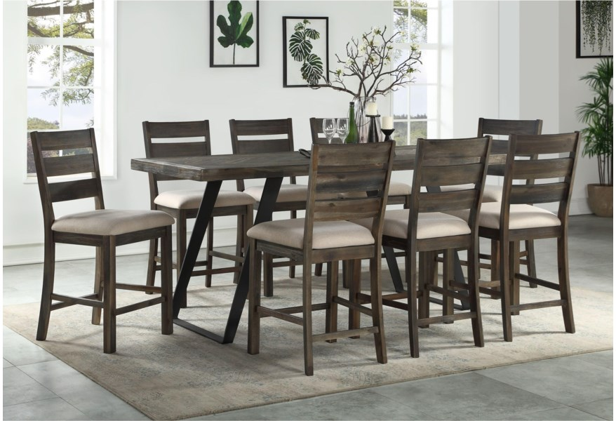 Coast To Coast Imports Aspen Court Contemporary Counter Height Dining Table With Flared Legs Zak S Home Dining Tables