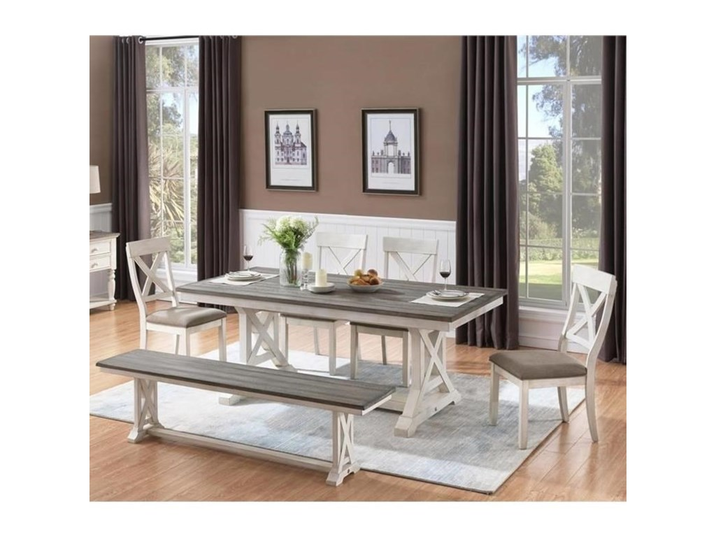 Coast to Coast Imports Bar Harbor II6-Piece Table and Chair Set with Bench