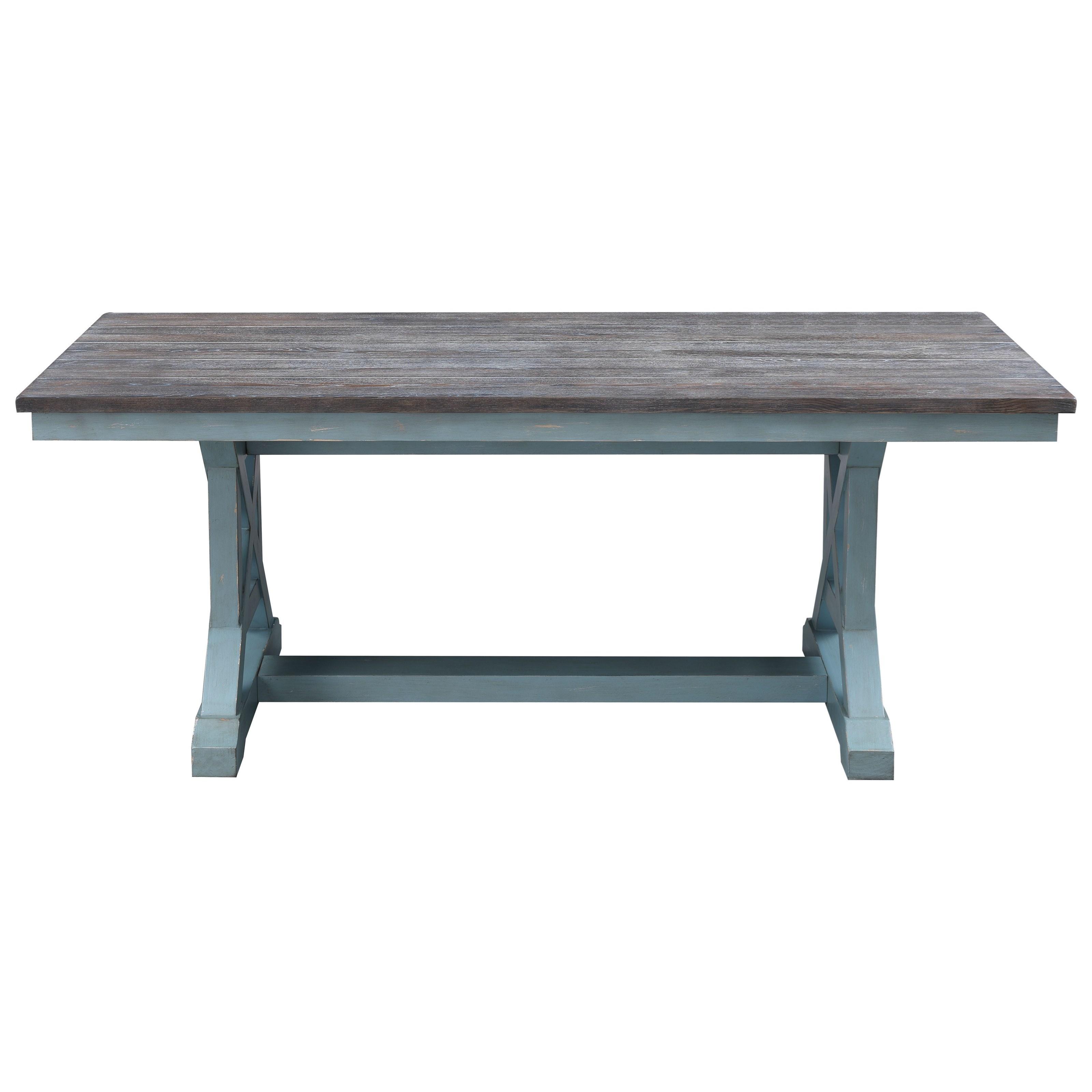 Two-Tone Rectangular Trestle Dining Table