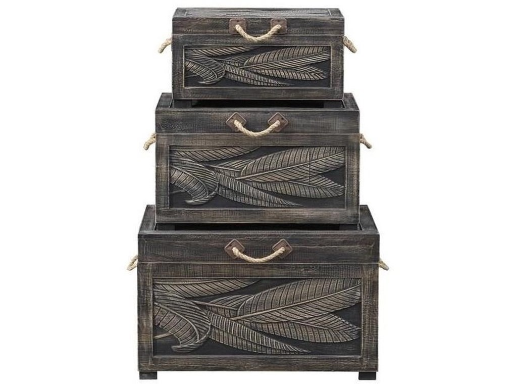 Coast to Coast Imports Pieces in ParadiseSet of Three Nesting Trunks