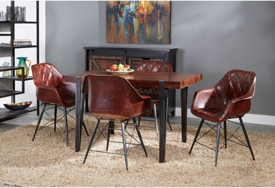 Coast To Coast Imports Bradley Mid Century Modern Dining Table With Antique Gun Metal Legs Zak S Home Dining Tables