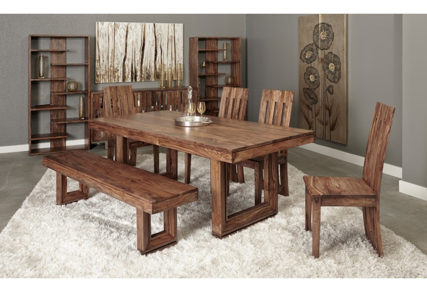 Coast To Coast Imports Brownstone Rustic Dining Table With Beveled Legs Value City Furniture Dining Tables