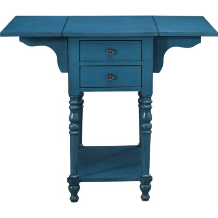 Drop Leaf Two Drawer Accent Table