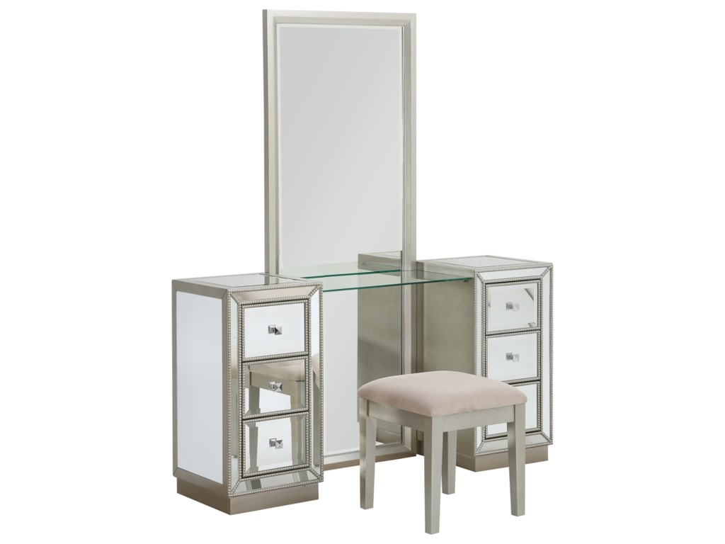 Coast to Coast Imports Coast to Coast AccentsSix Drawer Console w/ Mirror & Stool
