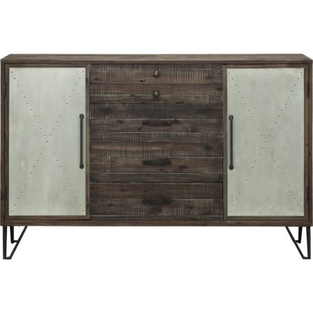 Two Door Five Drawer Credenza