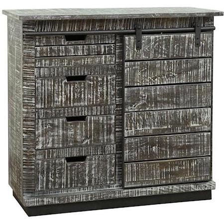 One Sliding Door, Four-Drawer Cabinet